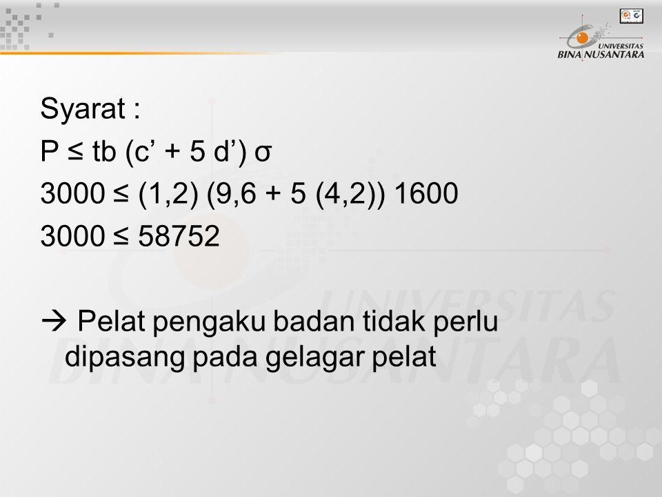 Syarat : P ≤ tb (c' + 5 d') σ. 3000 ≤ (1,2) (9,6 + 5 (4,2)) 1600.