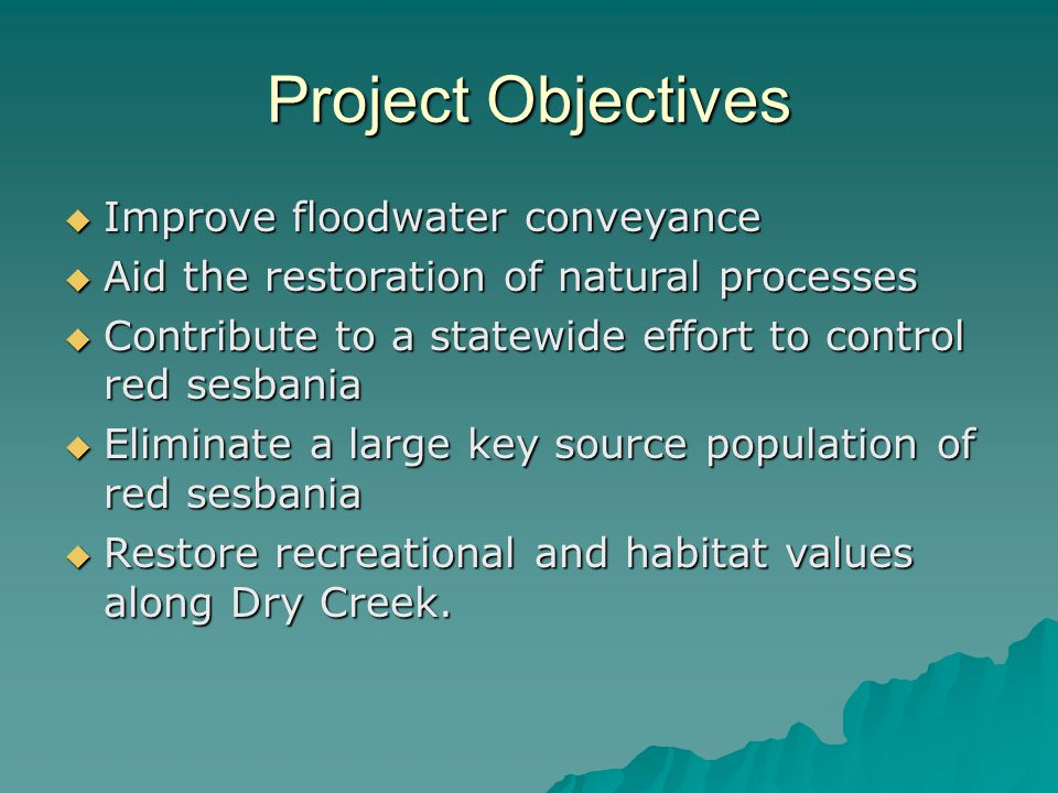 Project Objectives Improve floodwater conveyance
