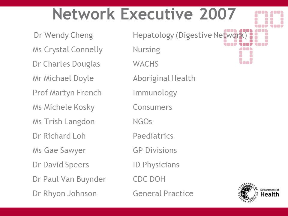 Network Executive 2007 Dr Wendy Cheng Hepatology (Digestive Network)