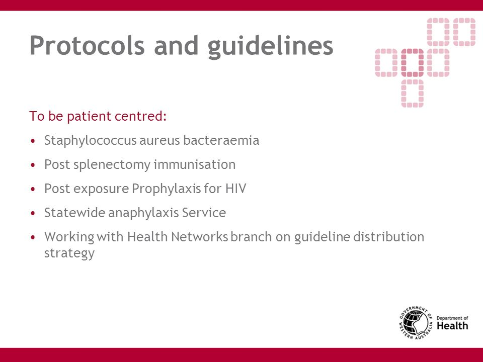 Protocols and guidelines