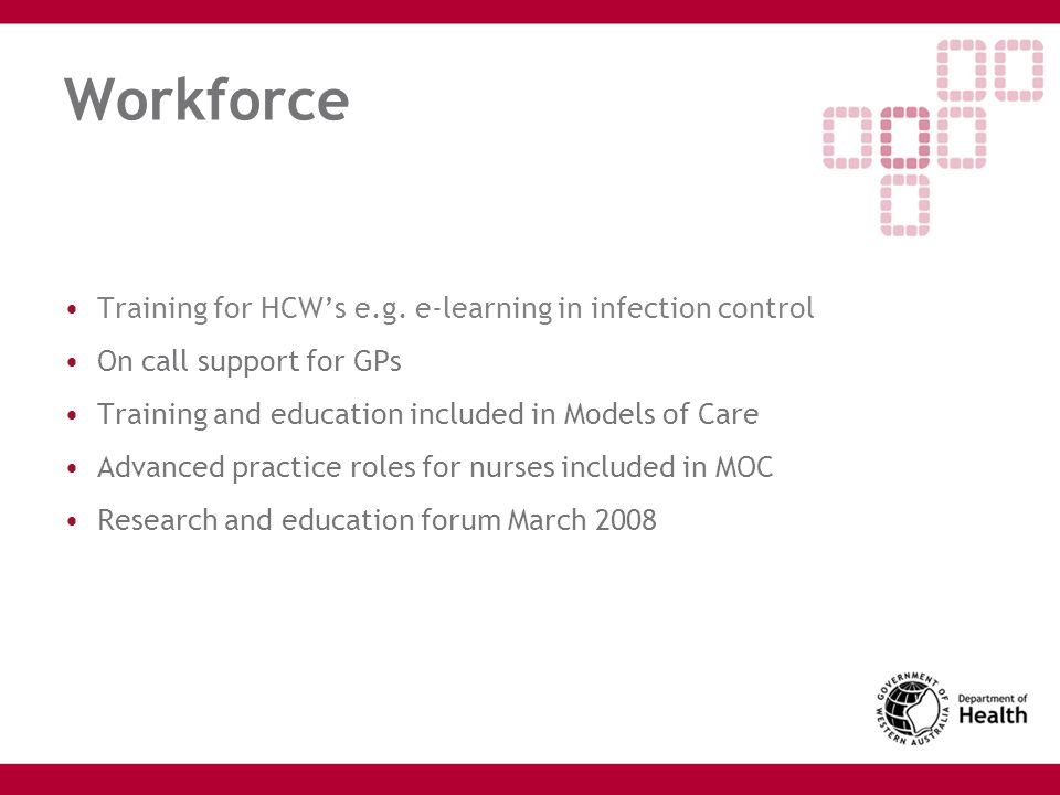 Workforce Training for HCW's e.g. e-learning in infection control