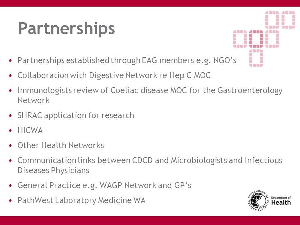 Partnerships Partnerships established through EAG members e.g. NGO's