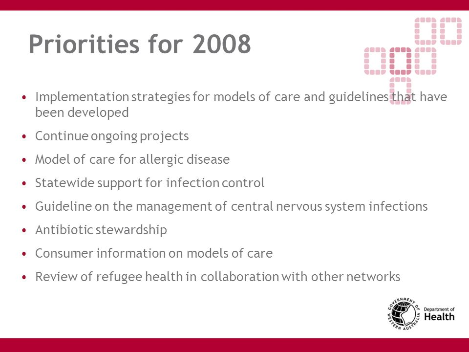Priorities for 2008 Implementation strategies for models of care and guidelines that have been developed.