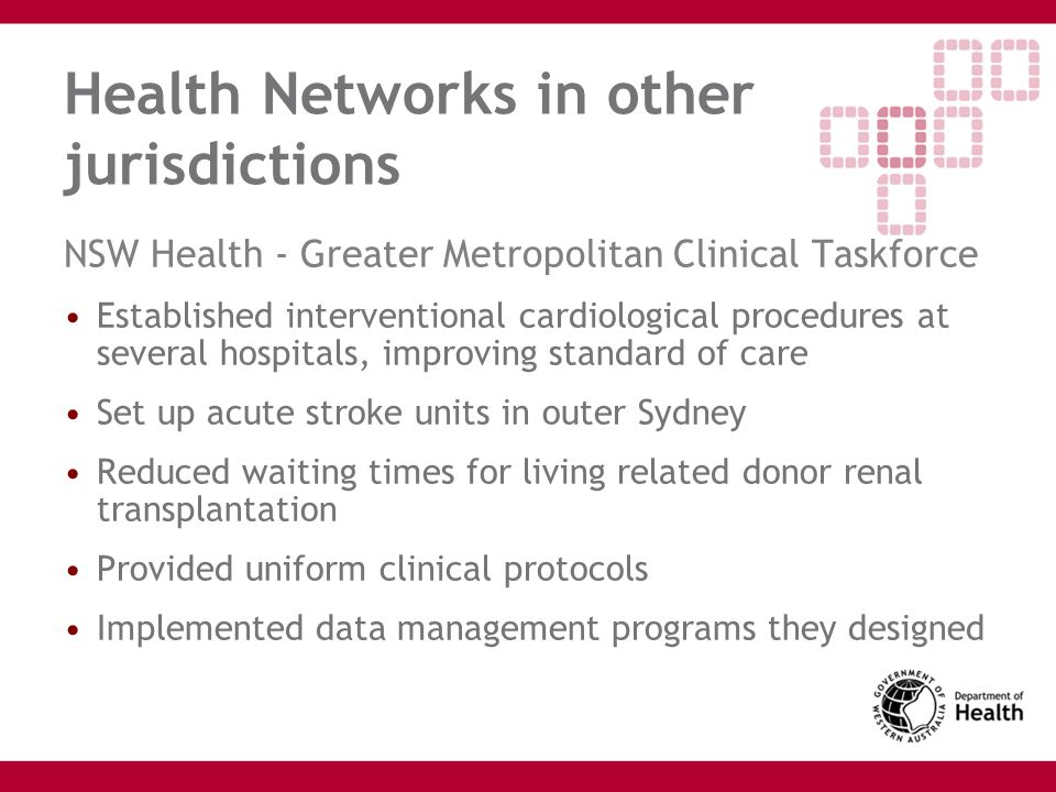 Health Networks in other jurisdictions