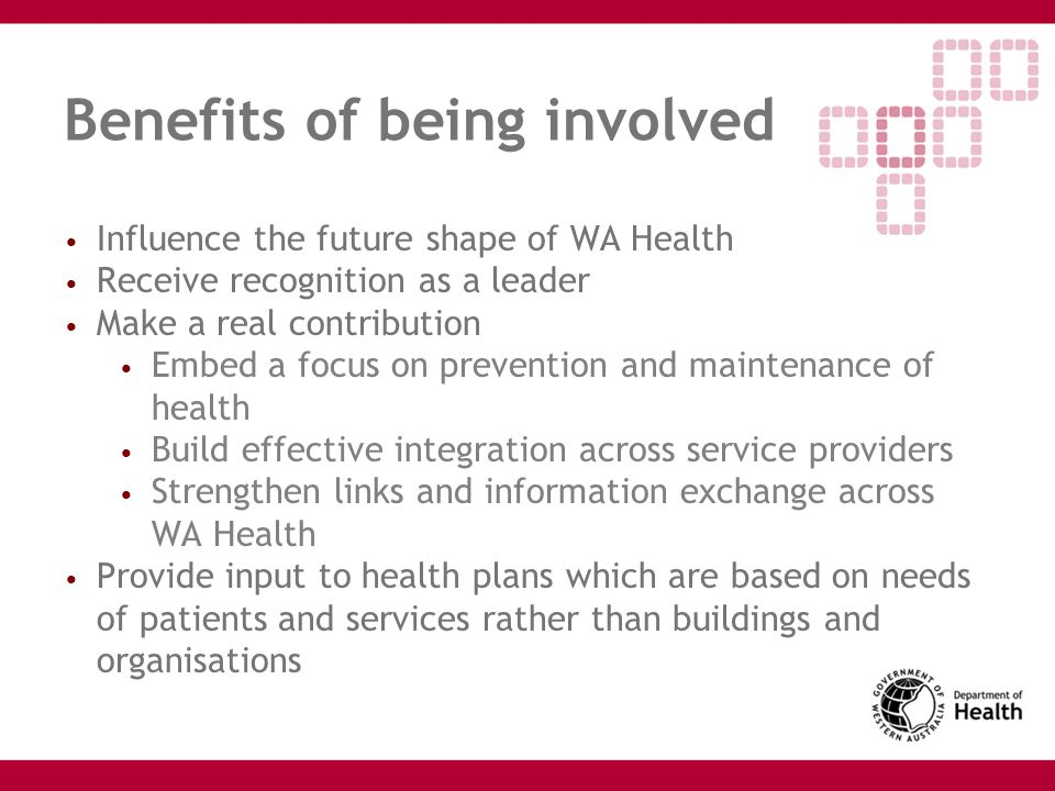 Benefits of being involved