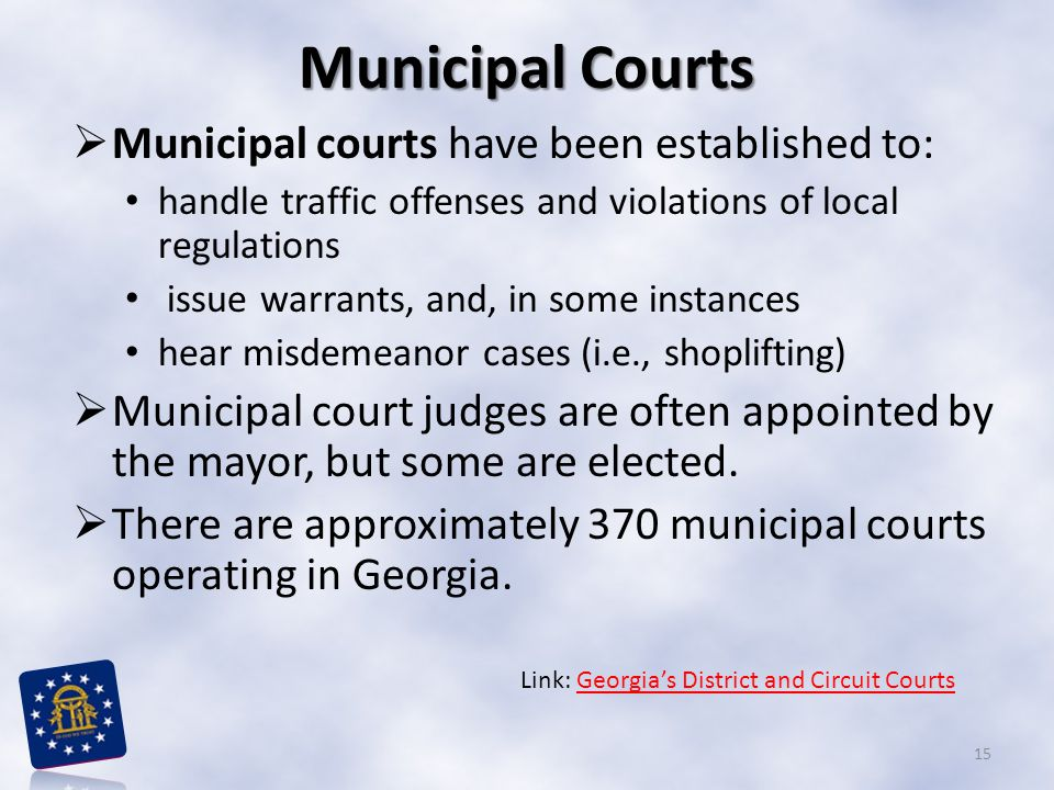 Municipal Courts Municipal courts have been established to: