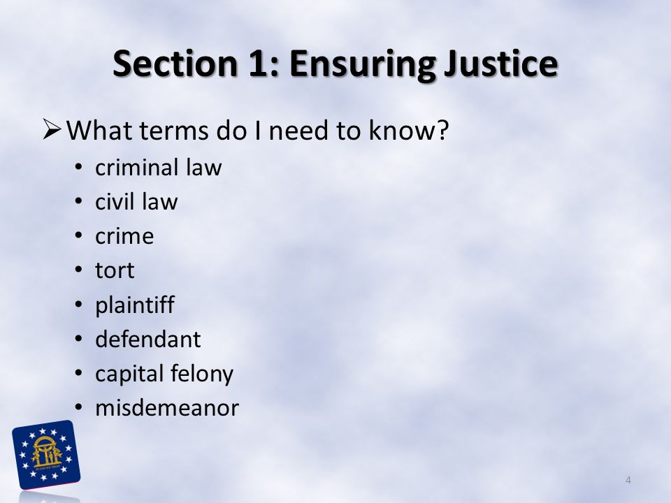 Section 1: Ensuring Justice