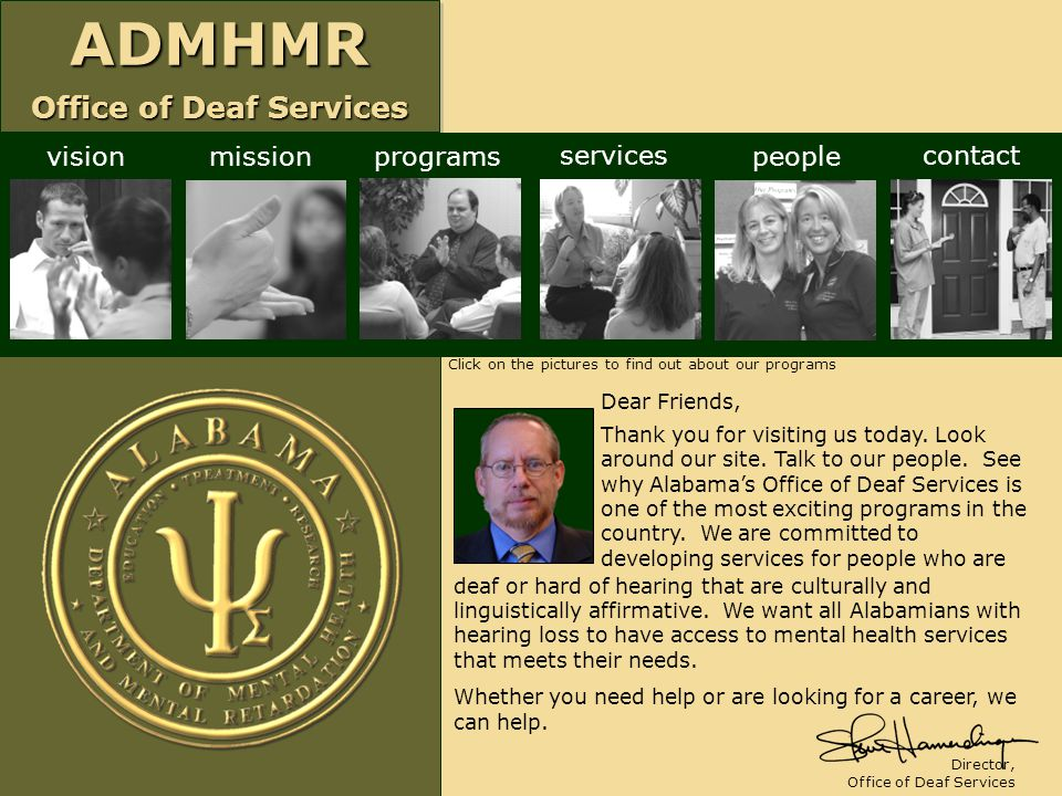 vision mission programs services people contact Dear Friends,