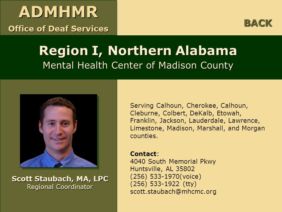 Region I, Northern Alabama Mental Health Center of Madison County