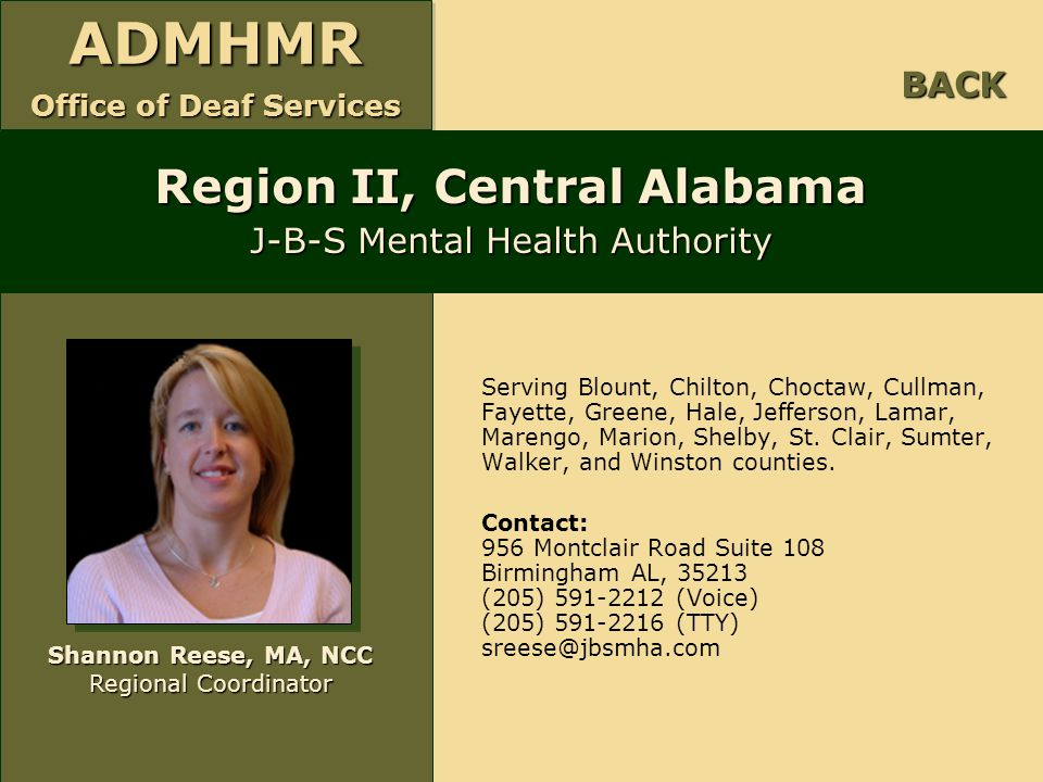 Region II, Central Alabama J-B-S Mental Health Authority