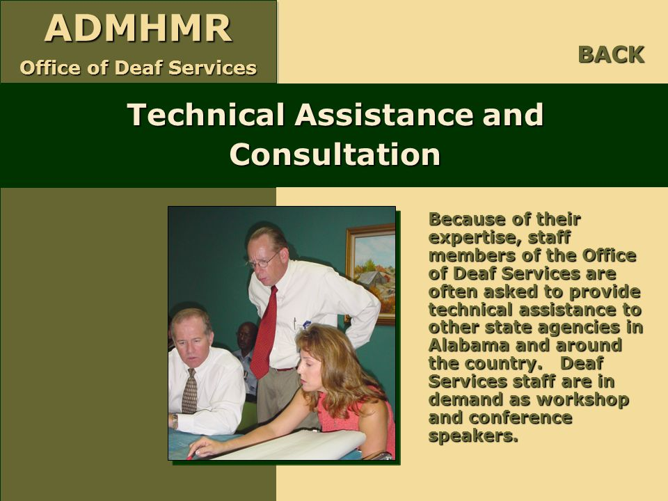 Technical Assistance and Consultation