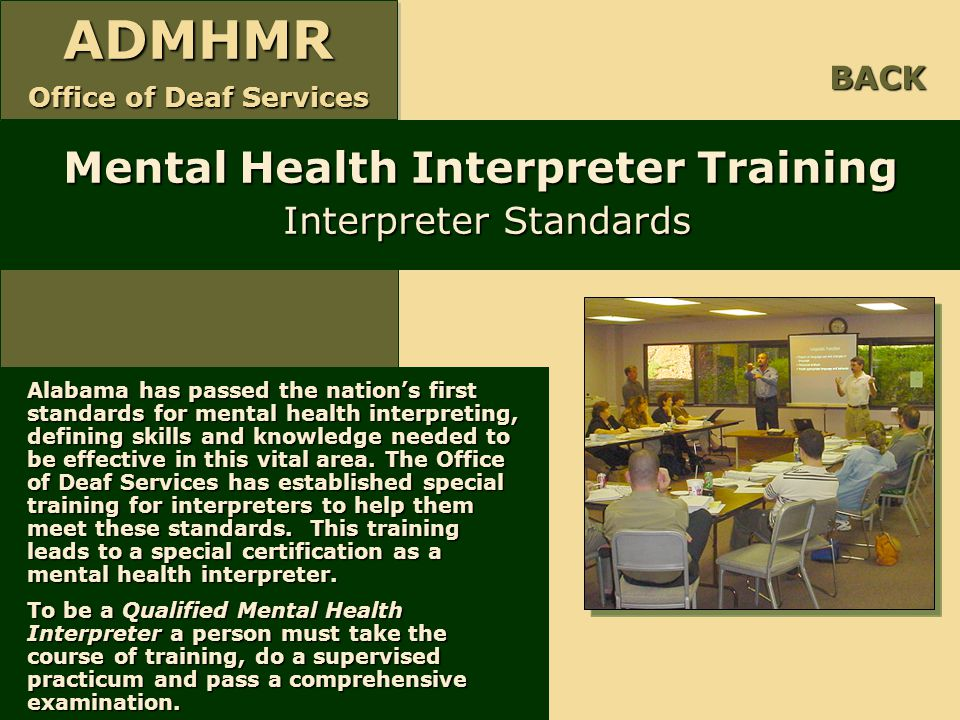 Mental Health Interpreter Training Interpreter Standards