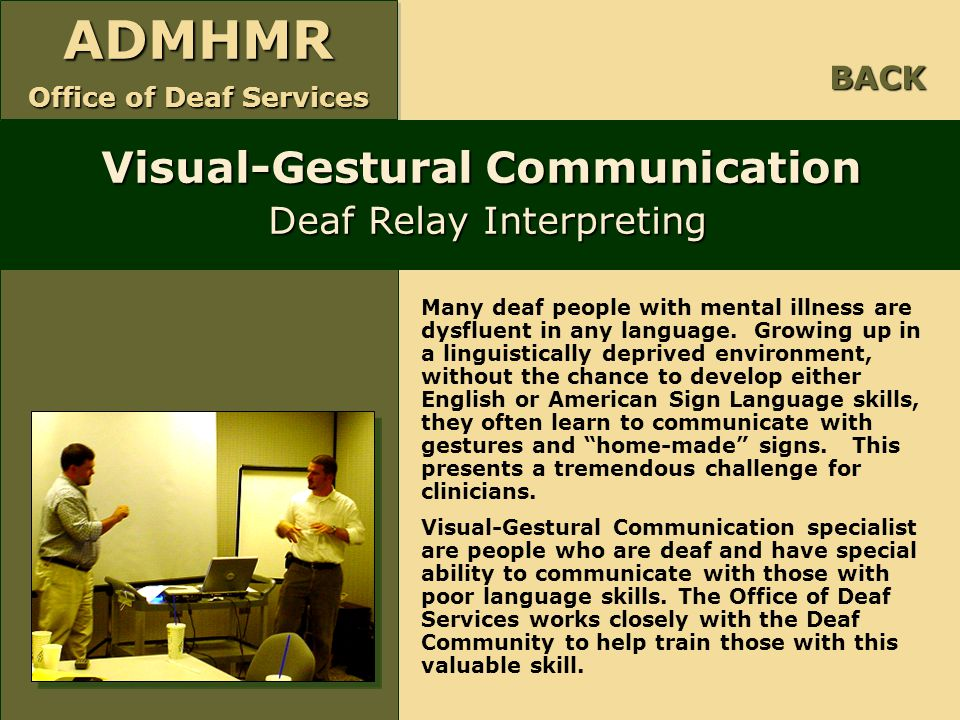Visual-Gestural Communication Deaf Relay Interpreting