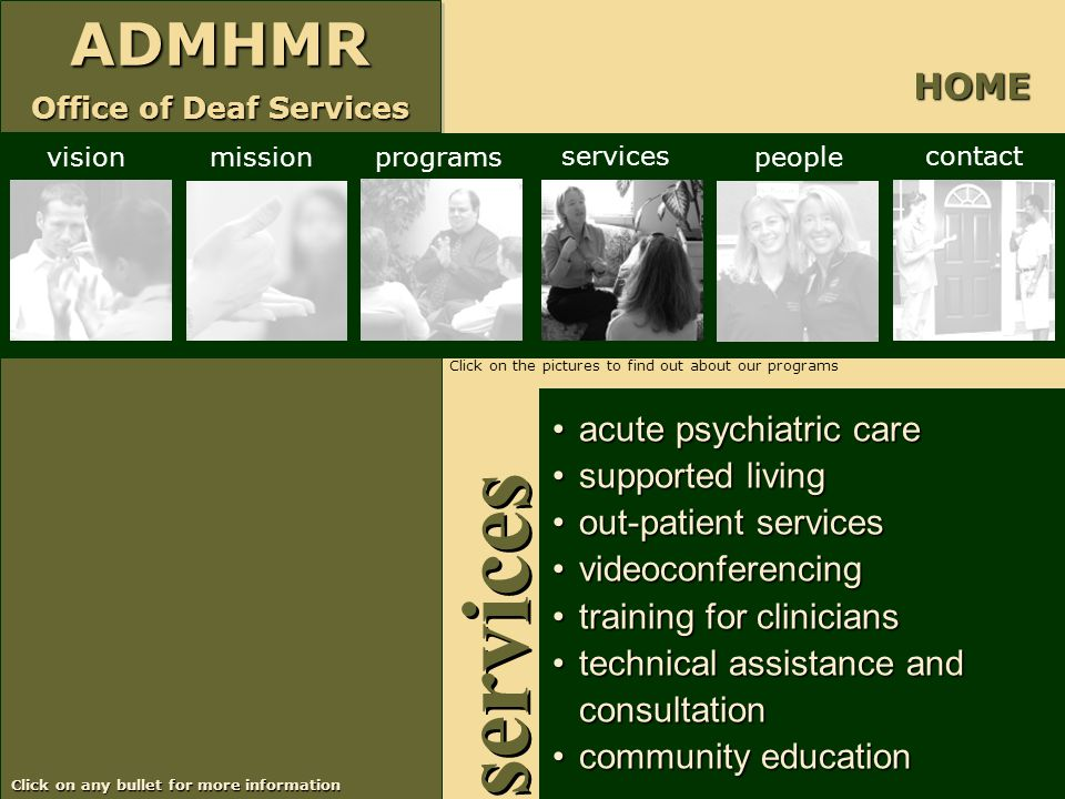 services HOME acute psychiatric care supported living