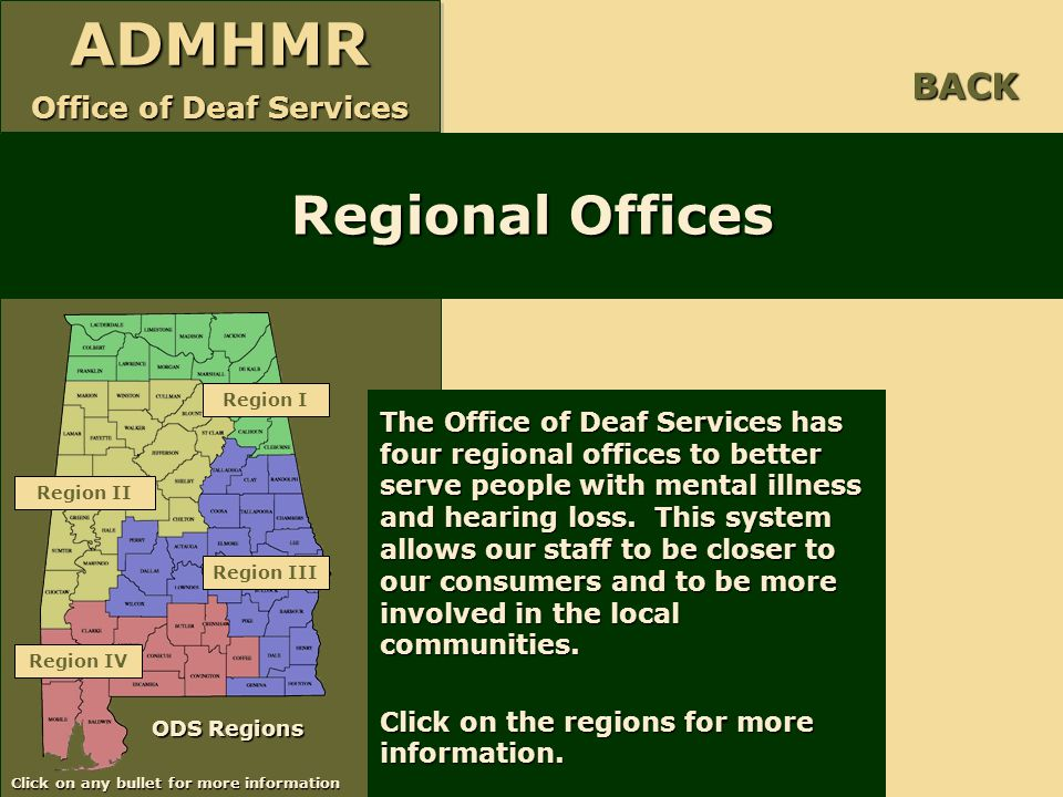 BACK Regional Offices. Region I.