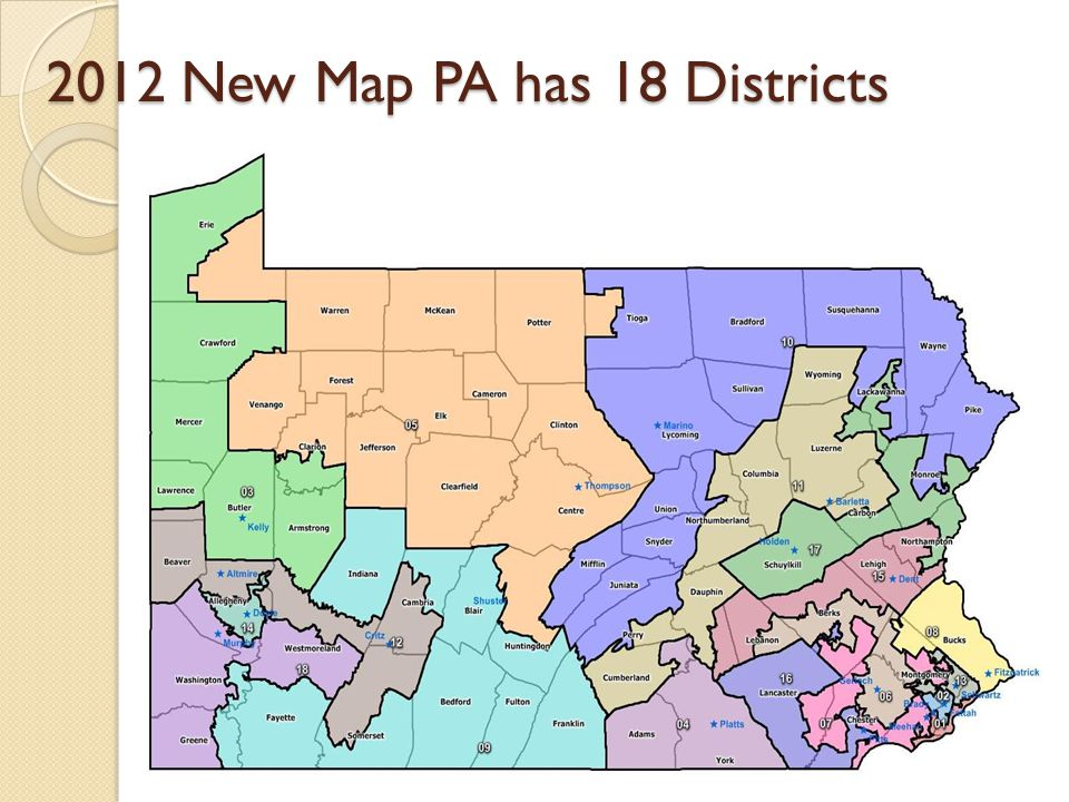 2012 New Map PA has 18 Districts