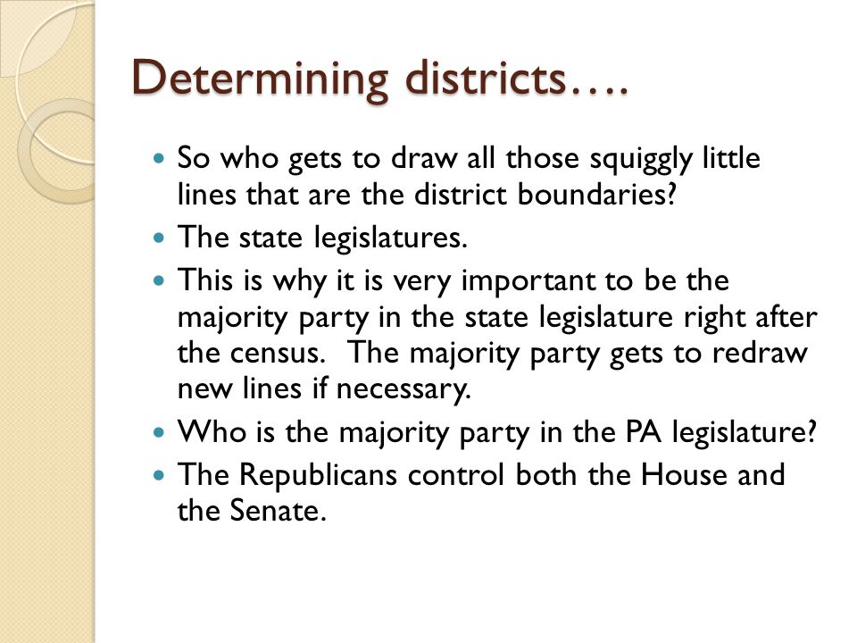 Determining districts….