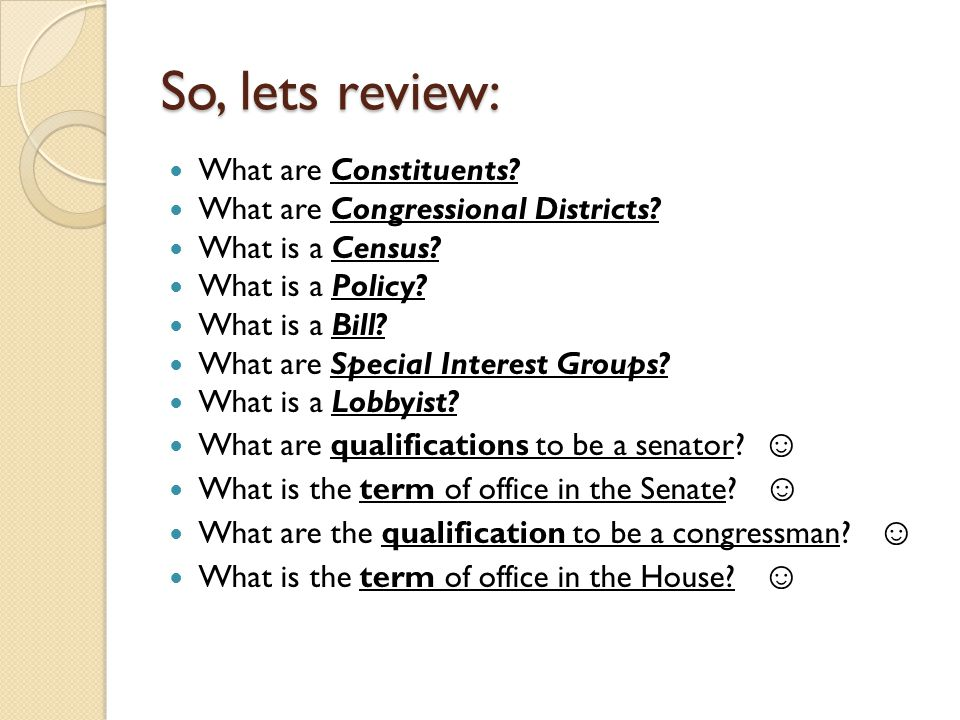 So, lets review: What are Constituents