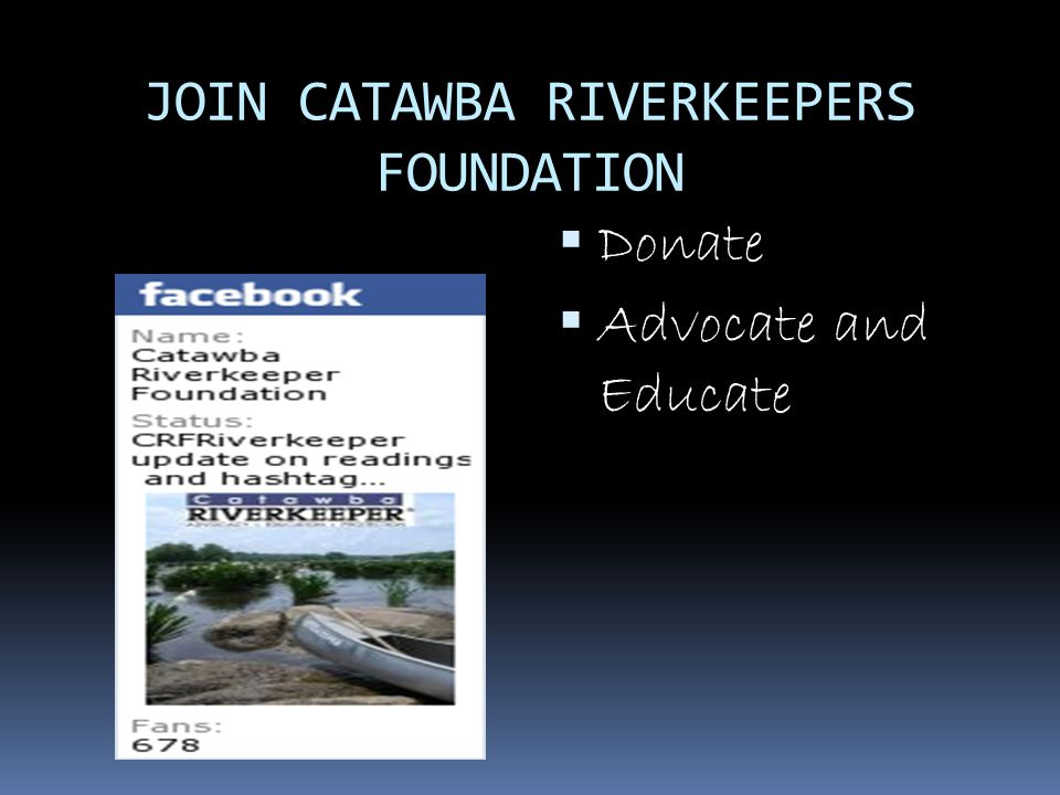 JOIN CATAWBA RIVERKEEPERS FOUNDATION