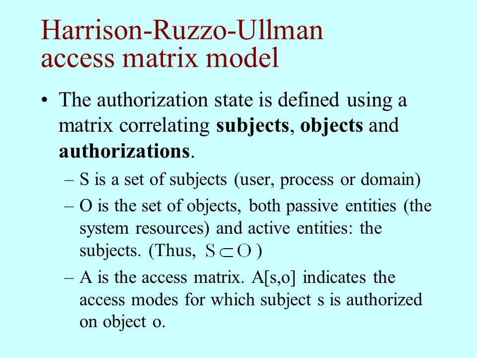Harrison-Ruzzo-Ullman access matrix model