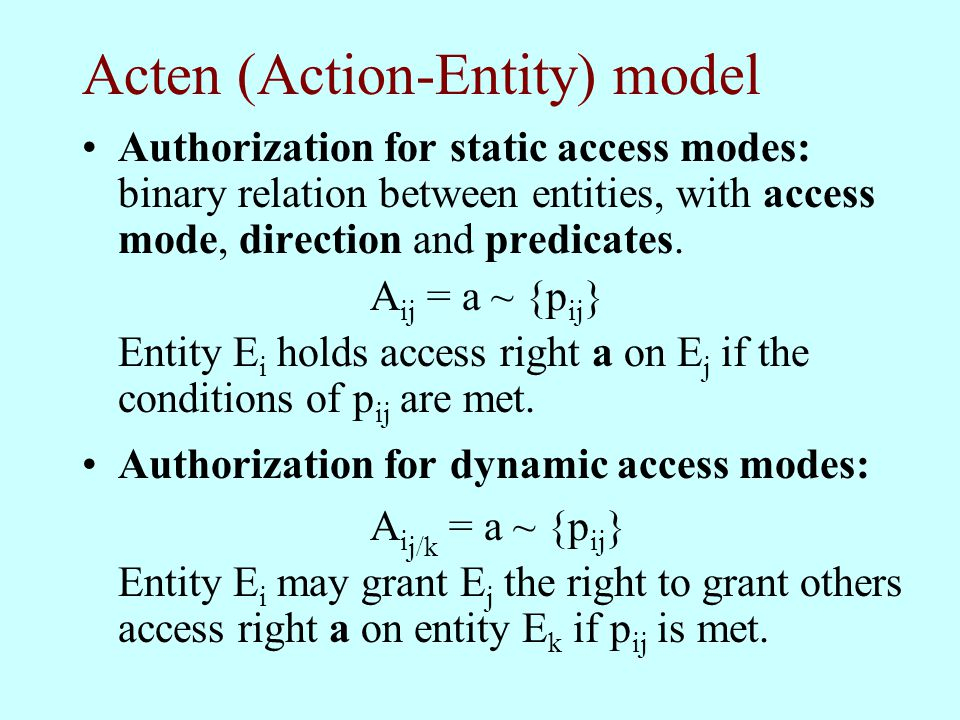 Acten (Action-Entity) model