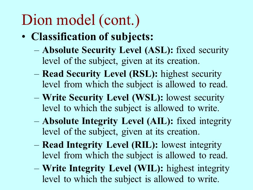 Dion model (cont.) Classification of subjects: