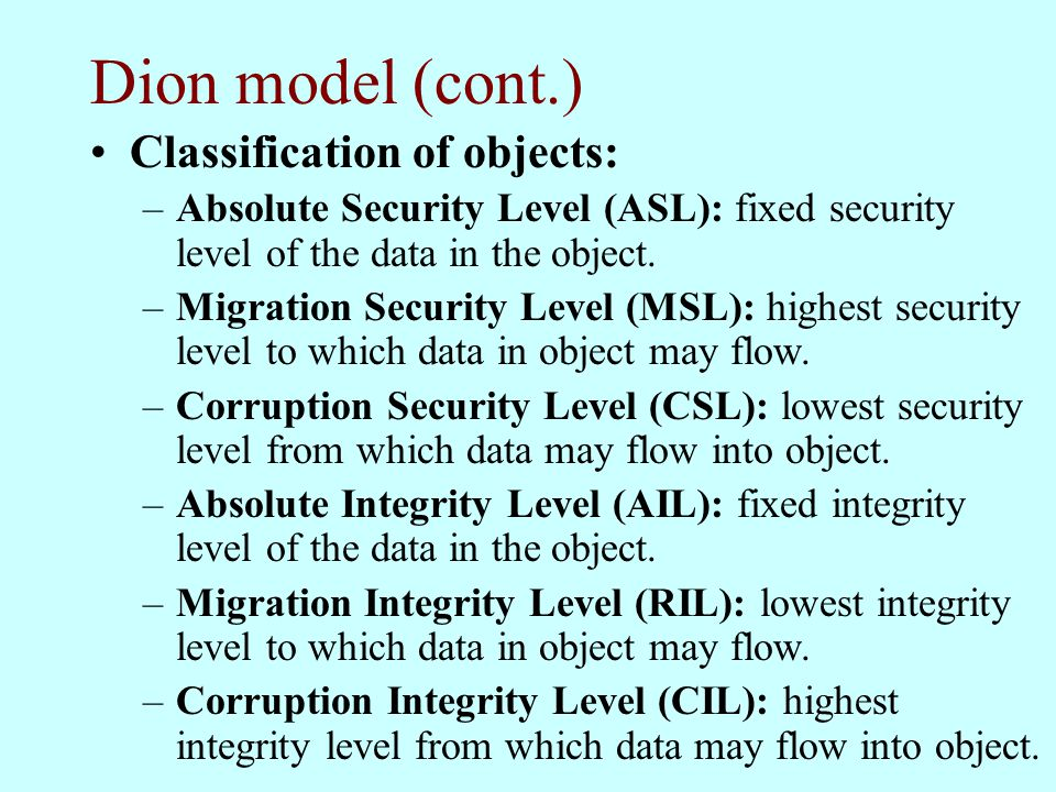 Dion model (cont.) Classification of objects: