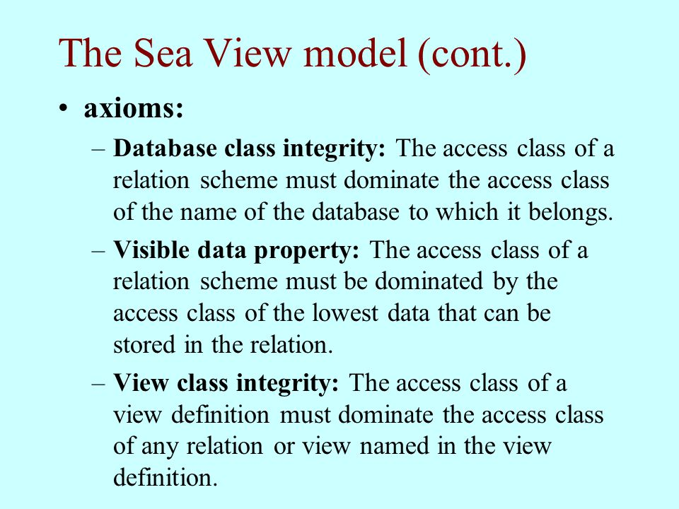 The Sea View model (cont.)