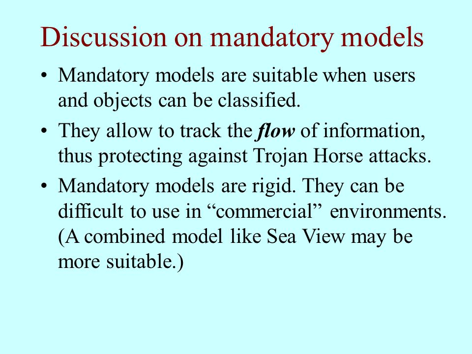 Discussion on mandatory models