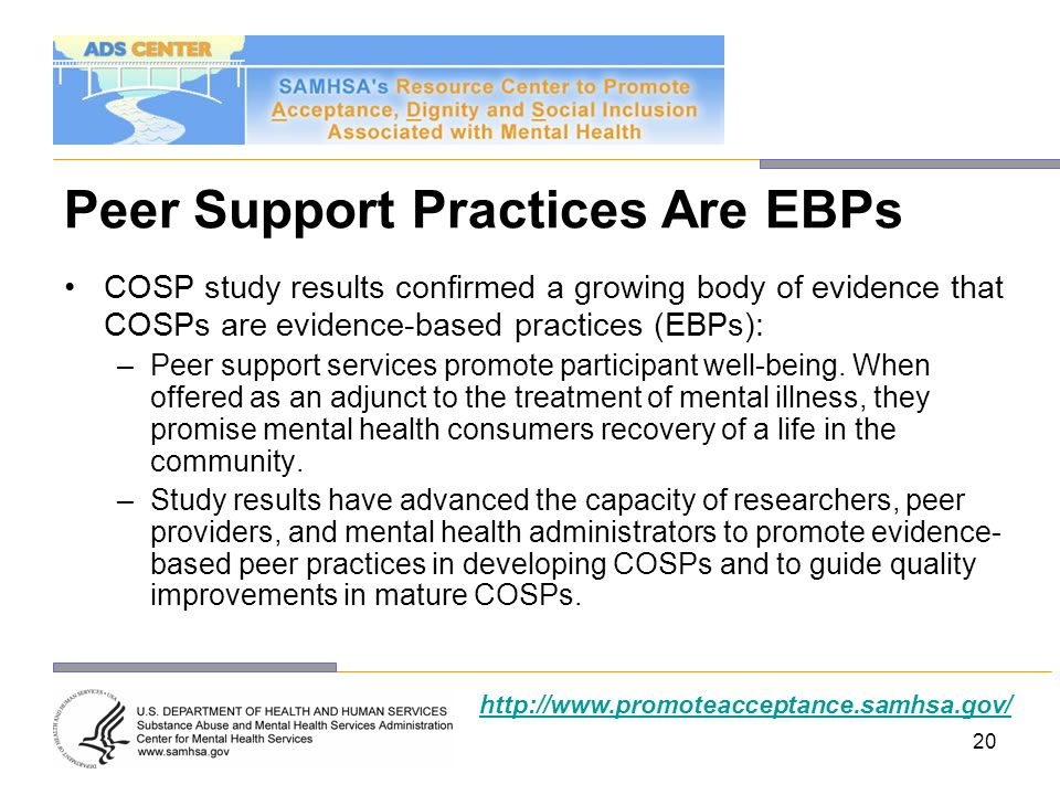 Peer Support Practices Are EBPs