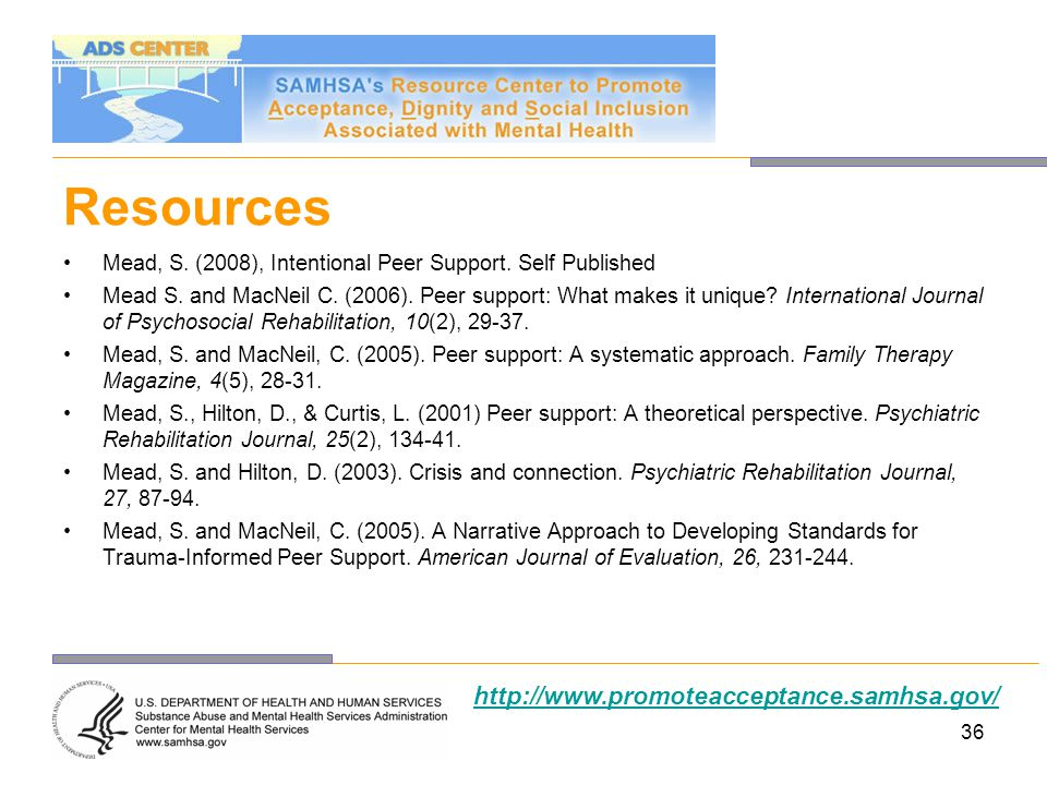 Resources http://www.promoteacceptance.samhsa.gov/