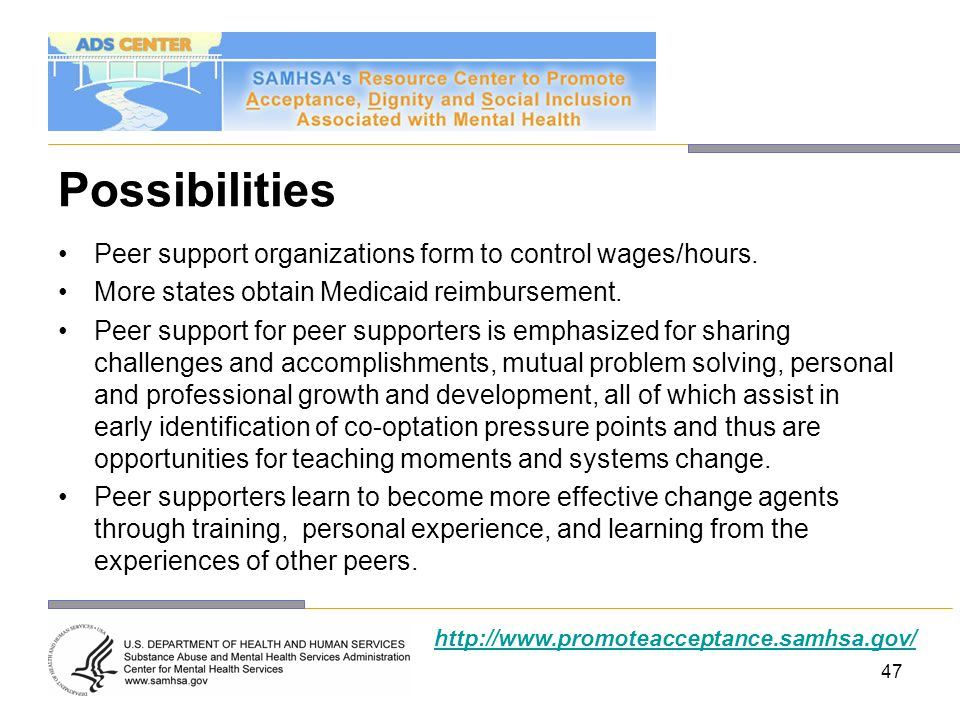 Possibilities Peer support organizations form to control wages/hours.