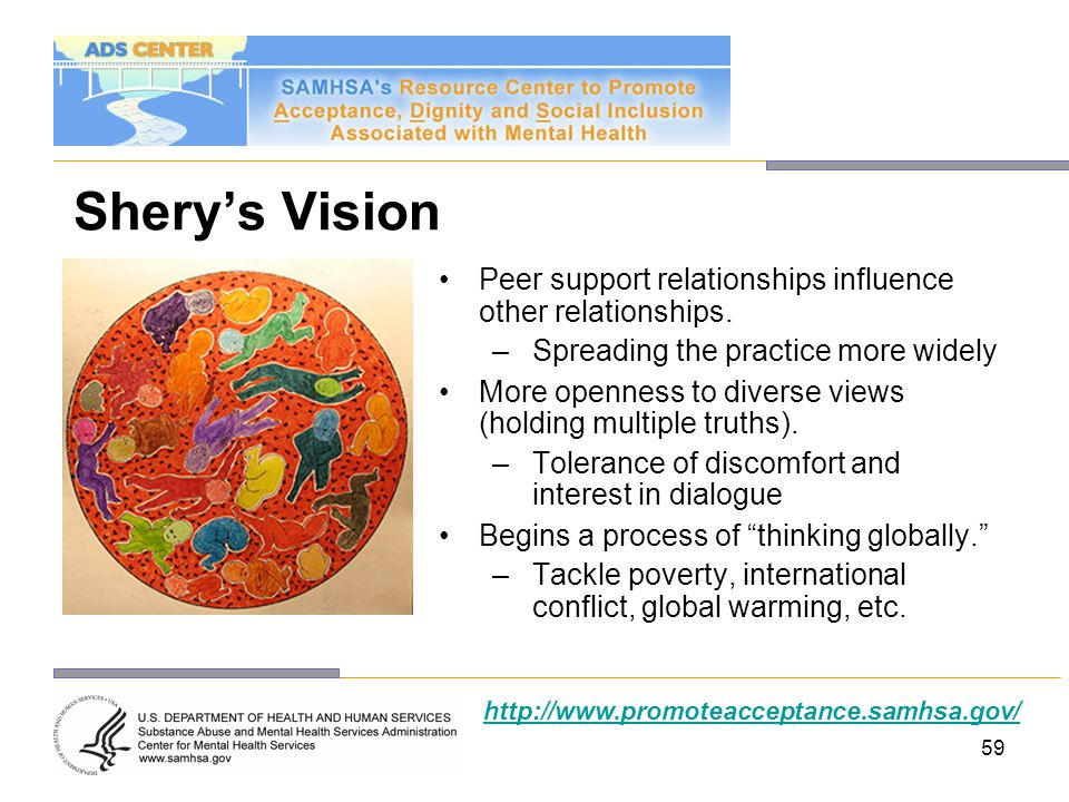 Shery's Vision Peer support relationships influence other relationships. Spreading the practice more widely.