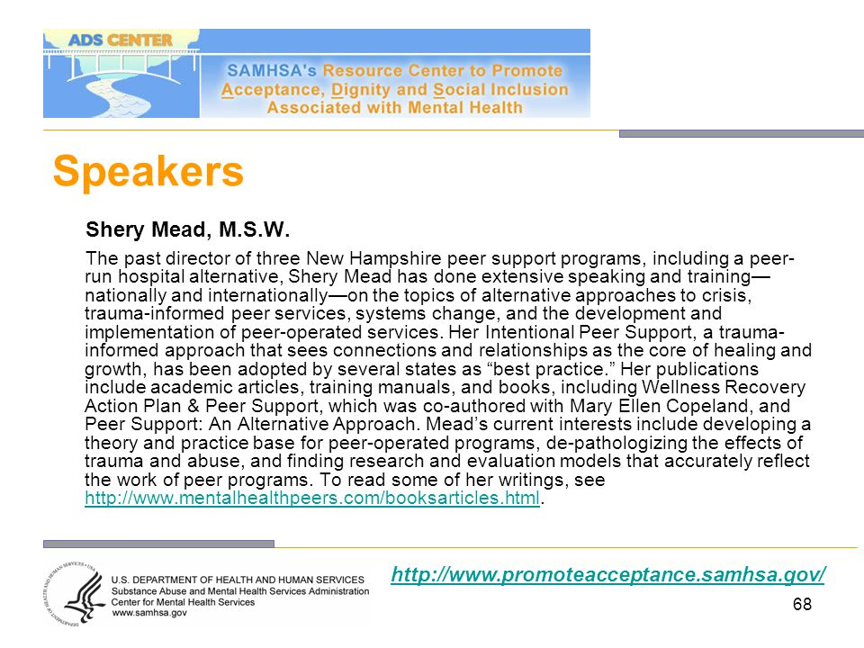 Speakers Shery Mead, M.S.W. http://www.promoteacceptance.samhsa.gov/