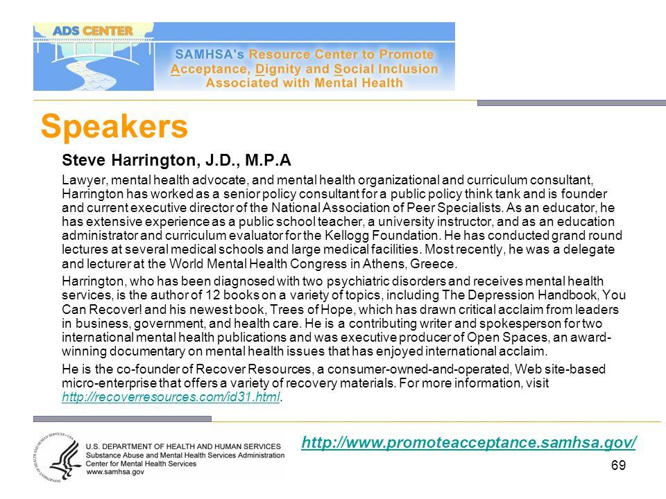 Speakers Steve Harrington, J.D., M.P.A