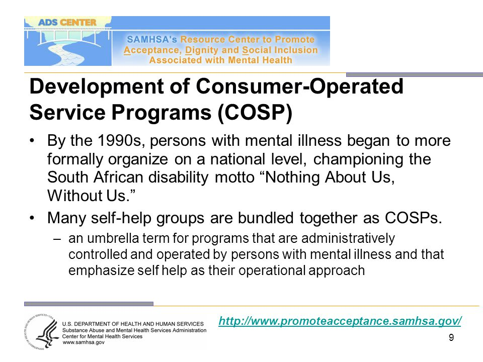 Development of Consumer-Operated Service Programs (COSP)