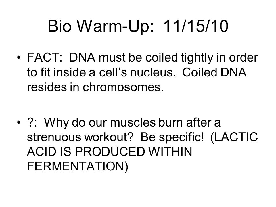 Bio Warm-Up: 11/15/10 FACT: DNA must be coiled tightly in order to fit inside a cell's nucleus. Coiled DNA resides in chromosomes.