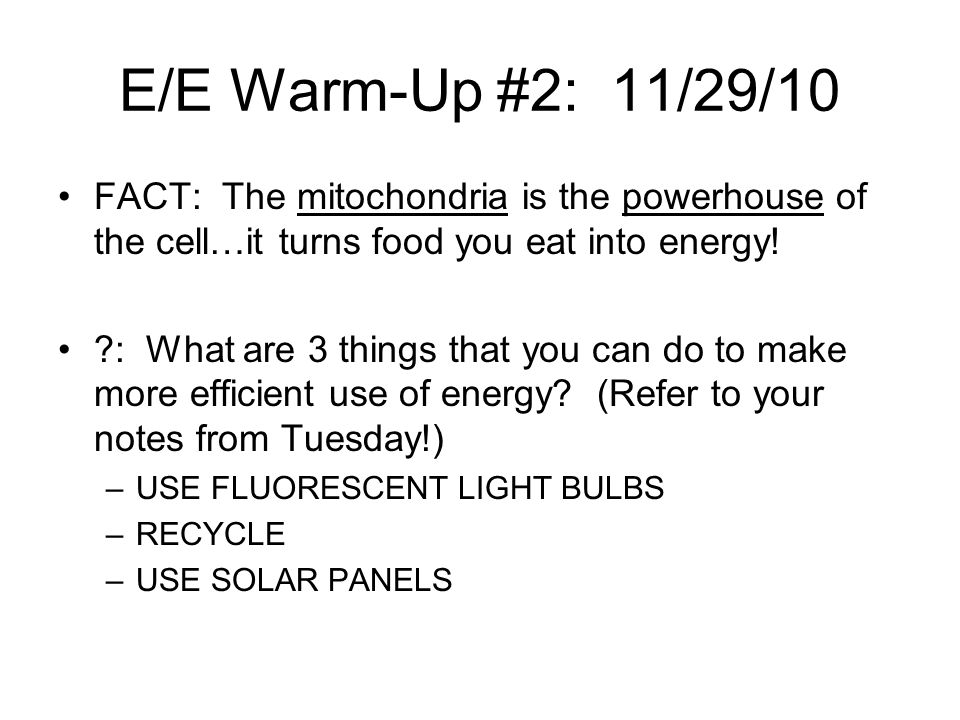 E/E Warm-Up #2: 11/29/10 FACT: The mitochondria is the powerhouse of the cell…it turns food you eat into energy!