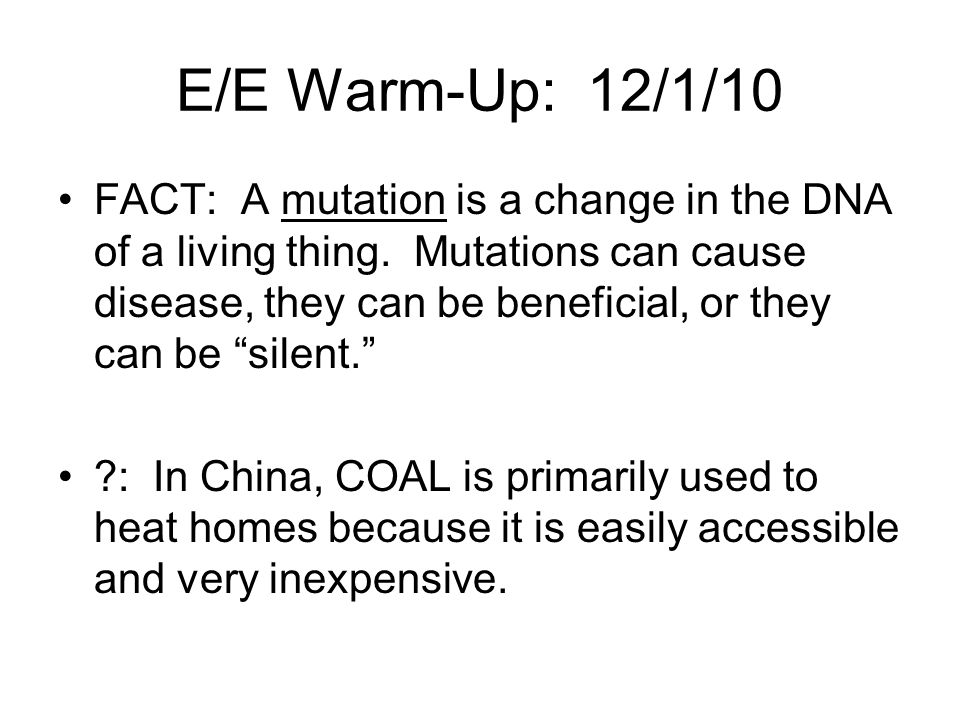 E/E Warm-Up: 12/1/10