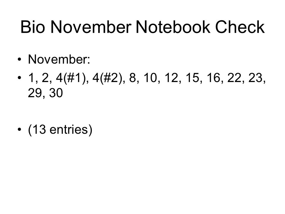 Bio November Notebook Check
