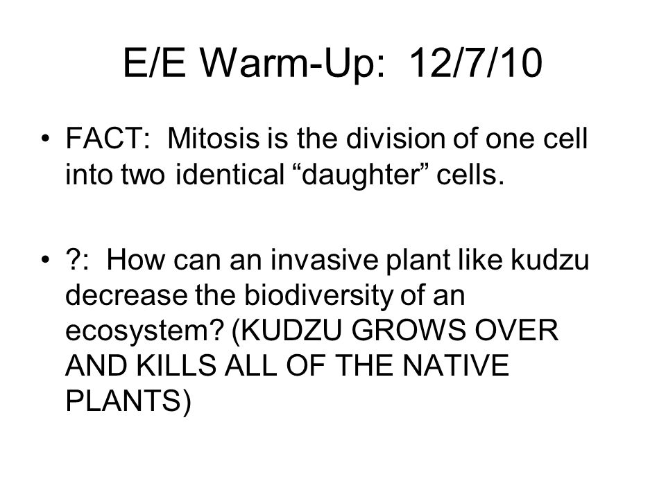 E/E Warm-Up: 12/7/10 FACT: Mitosis is the division of one cell into two identical daughter cells.