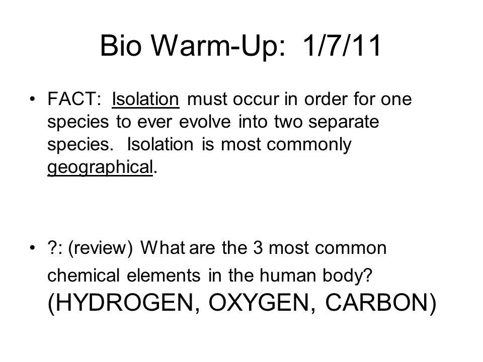 Bio Warm-Up: 1/7/11