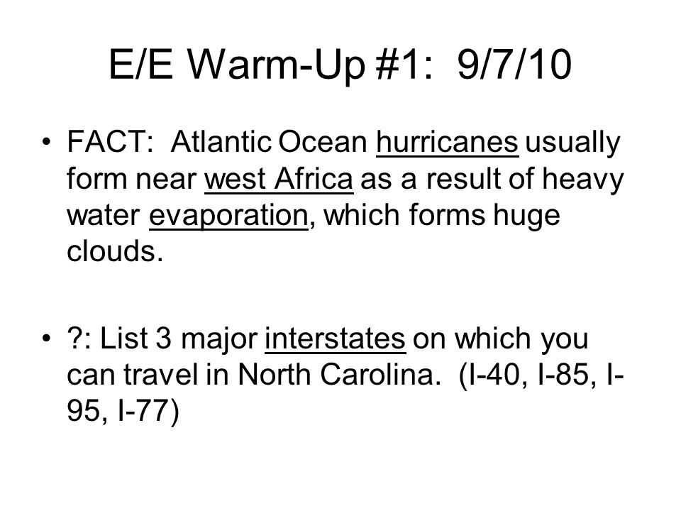E/E Warm-Up #1: 9/7/10