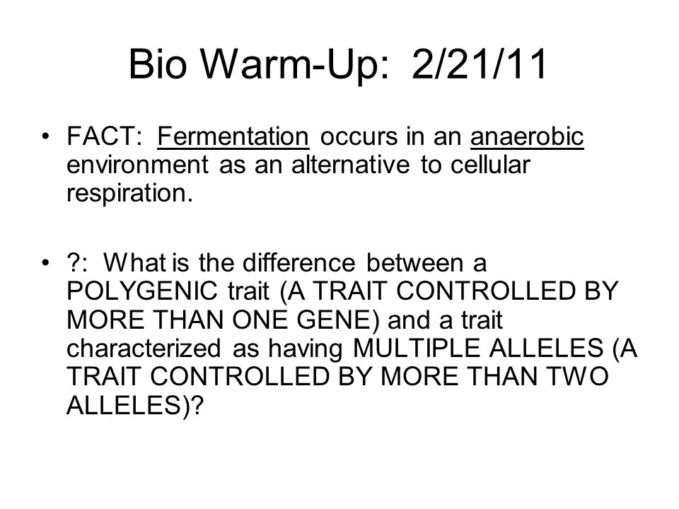 Bio Warm-Up: 2/21/11 FACT: Fermentation occurs in an anaerobic environment as an alternative to cellular respiration.
