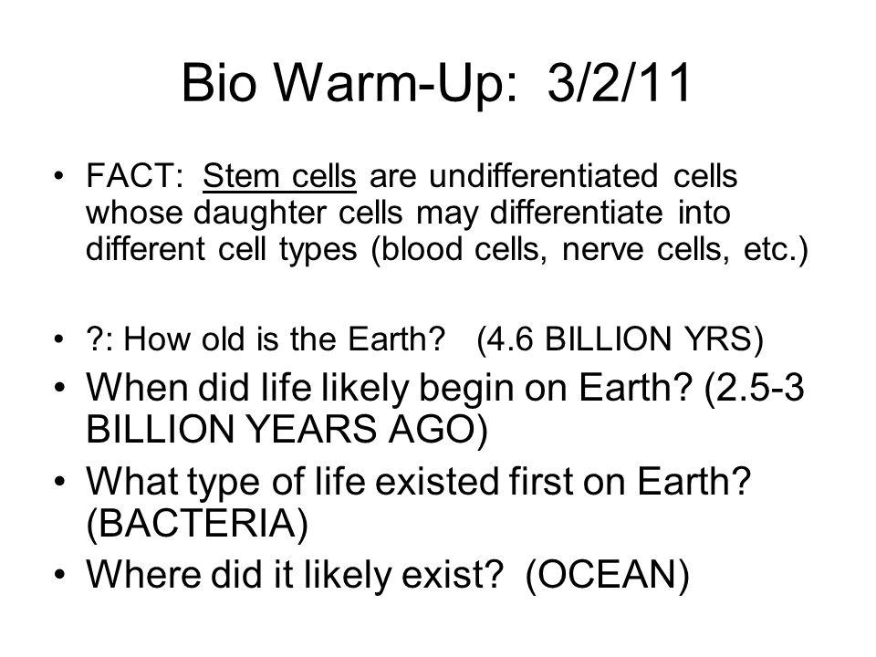 Bio Warm-Up: 3/2/11
