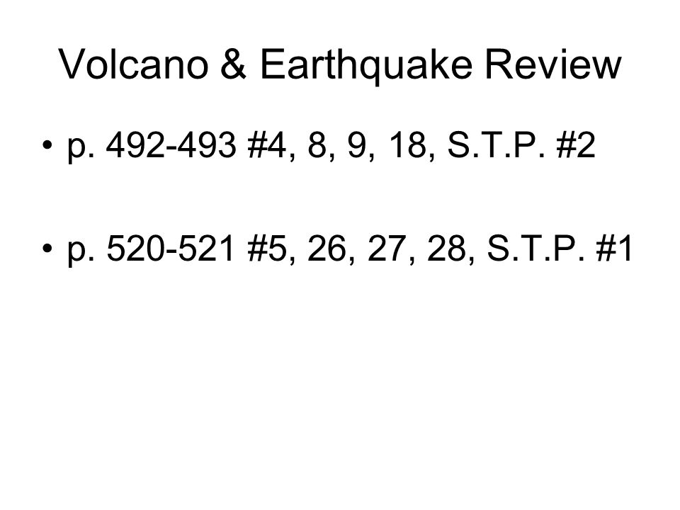 Volcano & Earthquake Review