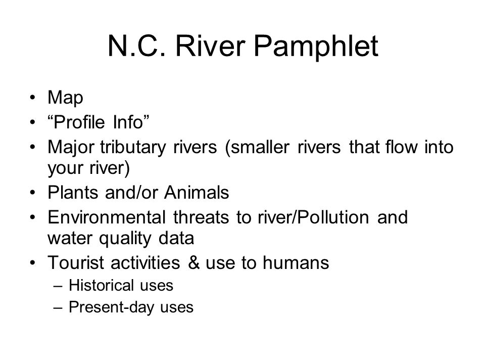 N.C. River Pamphlet Map Profile Info