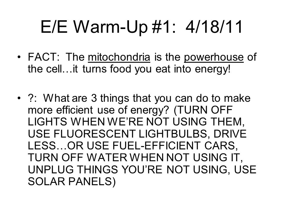 E/E Warm-Up #1: 4/18/11 FACT: The mitochondria is the powerhouse of the cell…it turns food you eat into energy!