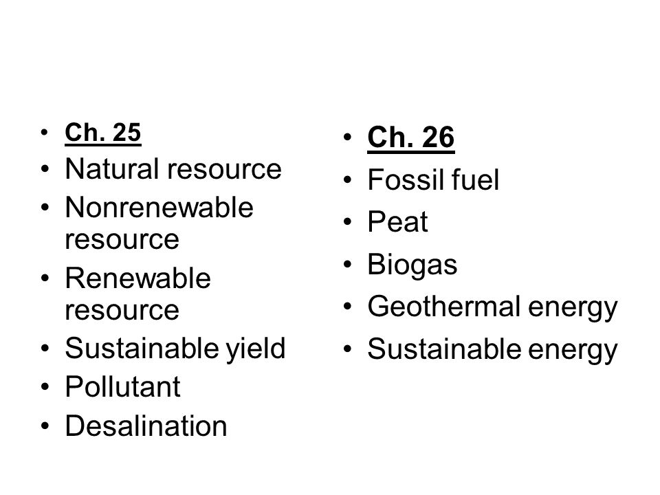 Nonrenewable resource Renewable resource Sustainable yield Pollutant