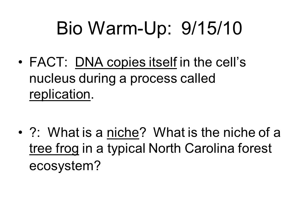 Bio Warm-Up: 9/15/10 FACT: DNA copies itself in the cell's nucleus during a process called replication.